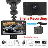 Dual Lens Car DVR Camera 1080P 4in Dash Night Vision G-sensor Video Recorder+Cam