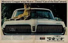 "1967 Mercury Cougar ""The Mans Car"" Cougar on Hood Vintage Print Ad 1686"