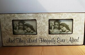 Vintage Style Double Photo Frame 6x4 Shabby Chic Floral Design