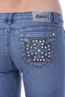 New Medium Blue Denim Skinny Jean Capri Pants Shorts