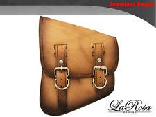 La Rosa Vintage Edge Tan Leather Harley Softail Rigid Left Swing Arm Saddle Bag