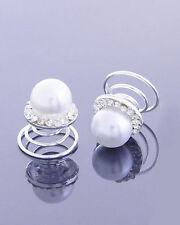 2 pcs. Bridal Wedding Clear Crystal & Faux Pearl Hair Twists Hair Accessory