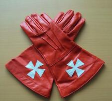 Knights Templar Red Leather Gauntlets - Perfect For Re-enactment Stage And LARP