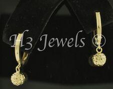 1.30 grams  solid yellow gold hoop earring earrings diamond cut ball kids #111