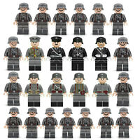 WWII Army Military Soldiers + Ger Officers x25 MiniFigures Toy WW2 Set Fit Lego