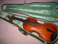 "Beautiful old 4/4 Violin ""Josef Just"" branding & Label nicely flamed 1part back!"