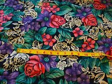"""Large pink & purple floral on dark blue-cotton /poly blend-soft feel-1 yd 8""""x58"""""""
