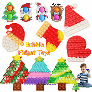 Christmas Fidget Sensory Toys Set Pop Push Bubble Relieves Stress For Xmas Gift
