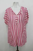 EAST Ladies Pink White Linen Striped Short Sleeved Button Top Size S BNWT