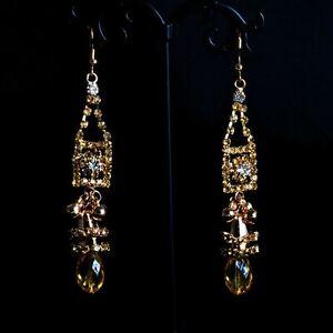 Simulated Diamond Spotlight Luxury Plastic Piece Ear Tear Drop Fine Stone 4Color