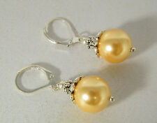 EARRINGS: RICH GOLD SEA SHELL PEARL SILVER DETAILING 14K SOLID WHITE GOLD FILLED