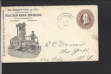 "TECUMSEH, MICHIGAN COVER, 1886.  ILLUST AD. ""BREWER & CO. TILE & BRICK MACHINES"""