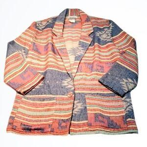California Concepts Vintage Wool Blend Long Adobe Print Blazer Size Large L