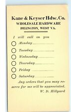 Kane & Keyser Hardware Co Wholesale Hardware Belington West W VA Postcard D65