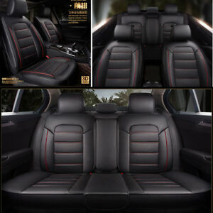 Luxury PU Leather Car Seat Covers 5Seats Front+Rear Full Surrounded Seat Cushion