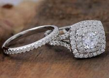 3.27ct Round Engagement Wedding Band Halo Diamond Ring Solid 14k white Gold