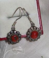 Vintage Sterling Silver Southwestern Earrings ~ Red Carnelian Stone  925 pierced