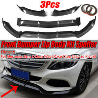 Carbon Front Bumper Lip Spoiler Splitter For Mercedes W205 C250 C300 C350
