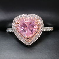 Gorgeous 4 Ct Heart Pink Sapphire Double Halo Ring Sterling Silver Women Jewelry