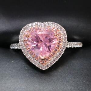 Ring silver plated Flowerheart dark pink fuchsia