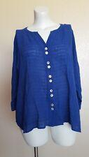 NWT Soft Surrounding Crinkled Gauze Shirt Blouse Top Size Petite PL Royal Blue