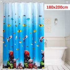 UK 180cm x 200CM Blue Extra Long Drop PEVA Shower Curtain Waterproof