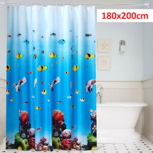 UK 180cm x 200CM Blue Extra Long Drop PEVA Shower Curtain Waterproof