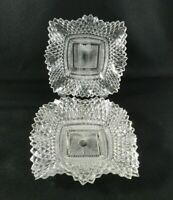 "Set of 3 Vintage Sawtooth Edge Small Plates 7"" Celar Glass Diamond Wavy Scallop"