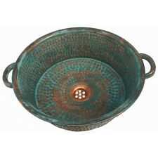 Green Patina Aged Rustic Oxidized Pure Copper Panning Bathroom Sink Remodel