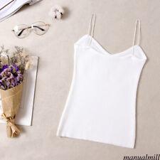 Women Knit Stretch V Neck Strap Tank Cami Basic T Shirt Club Top Blouse Caisoles