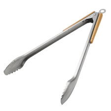 Barbeque Grilling Tong Stainless Steel Wood Handle Kitchen Cooking Grilling