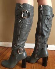 CHLOE PADDINGTON  Grey Leather KNEE HIGH BOOT SZ 38.5