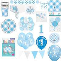 1st Birthday Party Tableware Decorations Supplies Baby First Blue Boys Plates