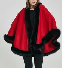 Red Cashmere Cape Wrap Shawl with Fox Fur Trim New