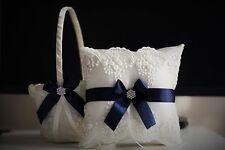 Ivory Navy Blue Flower Girl Basket + Ring Bearer Pillow Set