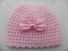 Baby Girl Pink Crochet Hat with a lovely large Satin Bow 3/6 mths