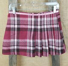 Lux Anthropologie junior 1 wool blend plaid mini skirt side pleaded