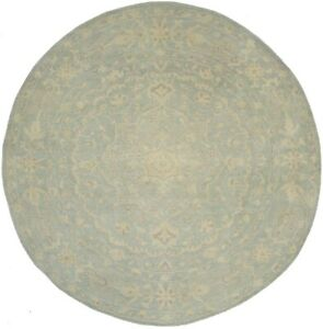 Muted Teal Transitional Floral 8X8 Handmade Oriental Round Rug Home Decor Carpet