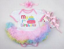 Babys 1st Birthday Tutu cake smash Dress Ballet Shoes Romper Suit Girls First
