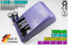 CHARGEUR VIVANCO CHARGER + 4 PILES ACCUS RECHARGEABLE NI-MH 1.2V AA 3600MAH LR06