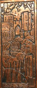 VINTAGE HAND MADE WALL HANGING COPPER PLAQUE CITYSCAPE