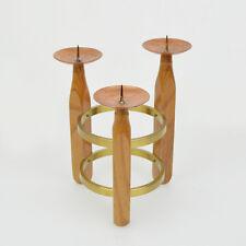 Vintage Kerzenständer Teak Messing Kupfer Midcentury Candle Holder Brass Copper