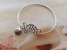 NAUTICAL SILVER PLATED TURTLE CONNECTOR CHARM SEA SHELL CUFF BANGLE BRACELET