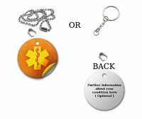 Medical Alert Circle Pendant Necklace Emergency ID Dog Tag, Keyring, Gift SOS
