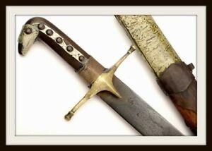 ANTIQUE ISLAMIC ARABIC OR PERSIAN SHAMSHIR SWORD WITH DAMASCUS STEEL BLADE