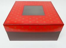"Cake Boxes  9 inch x 9 inch x 4""deep   Red top with brown base  Pack in 5's"