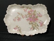 ANTIQUE A. LANTERNIER LIMOGES DRESSER TRAY IVORY WITH PINK BELL SHAPED FLOWERS