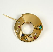 Brooch in 585 Yellow Gold with Sapphire, Ruby, Emerald and Diamond 0,14 CT W. Si