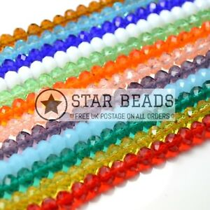 FACETED RONDELLE CRYSTAL GLASS BEADS PICK COLOUR 4X3MM,6X4MM,8X6MM,10X8MM