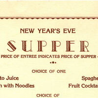 Vintage 1943 WWII New Year's Eve Supper Dinner Menu Year